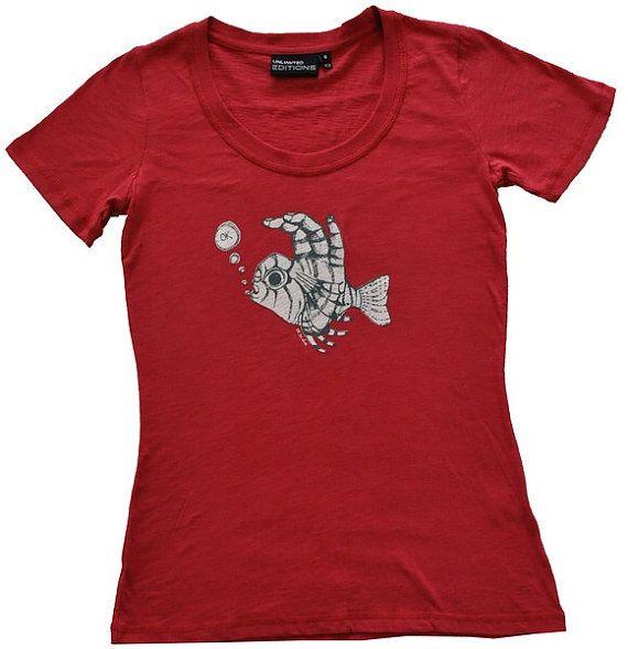 Ladies Cranberry Fish Fingers Scuba Dive by SonjaHandcraftedTees