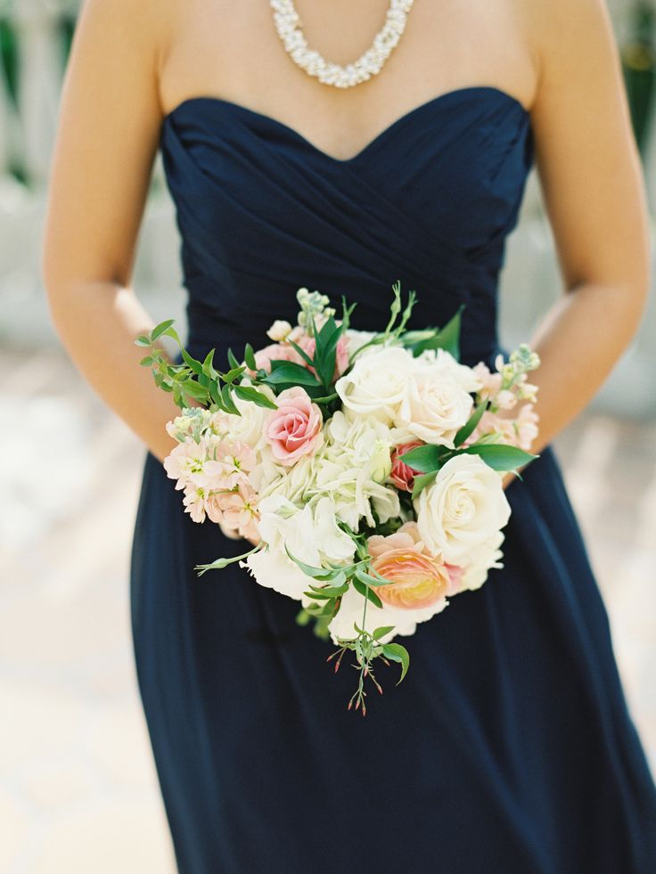 Navy Strapless Bridesmaids Dress   photography by http://lanedittoe.com