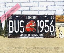 Vintage Car License Plate Tin Sign Decor Metal Bar Garage Poster London Bus