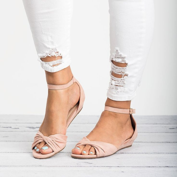 Knotted Peep Toe Wedge Sandals - Blush