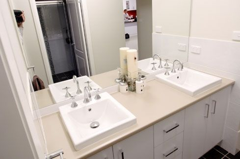 Love the double vanity! His and hers!