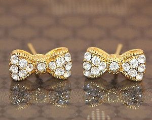 Cubic Zirconia Mini Ribbon Gold Plated Stud Earrings For Kids Adults
