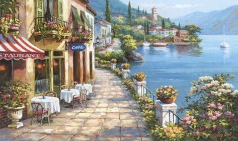 Sung Kim Overlook Cafe Mediterranean Wallpaper Mural at AllPosters.com