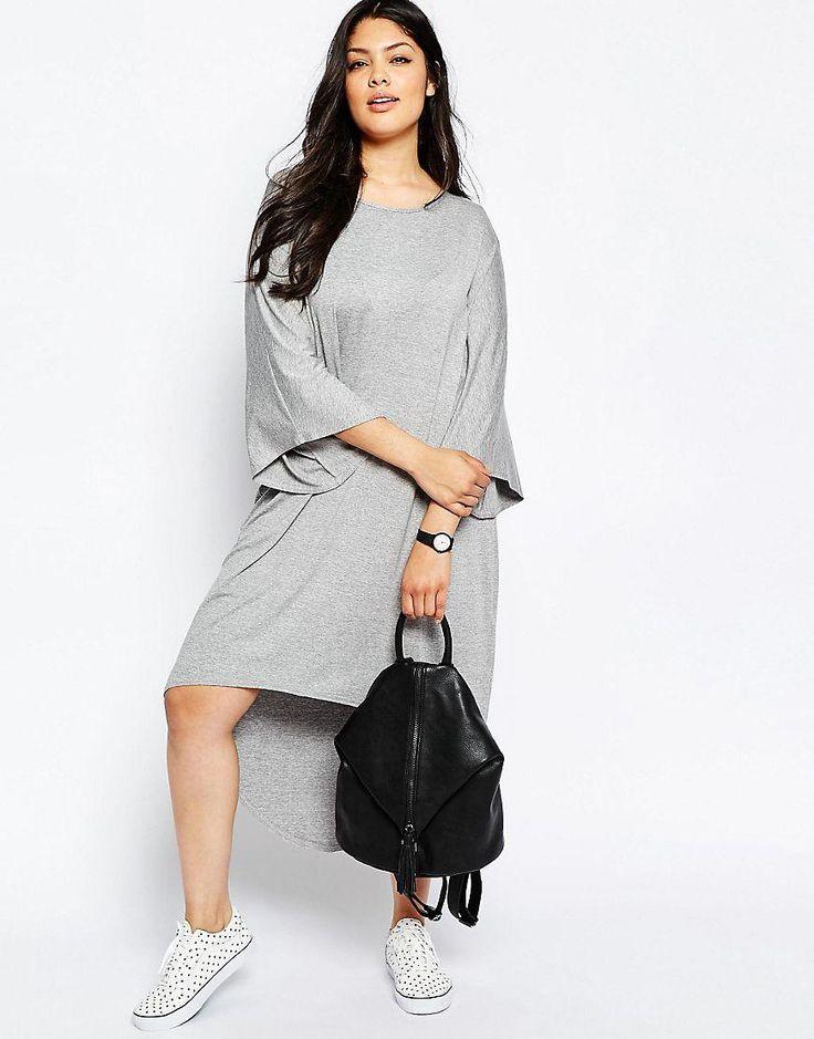 ASOS Curve | Платье-футболка с ассиметричным низом и рукавами-кимоно ASOS CURVE на ASOS