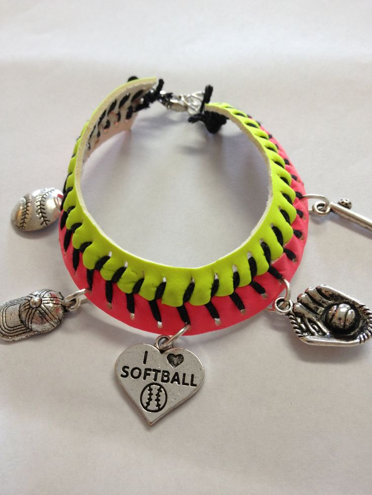Softball Charm Bracelet by ScoreMemories on Etsy, $20.00