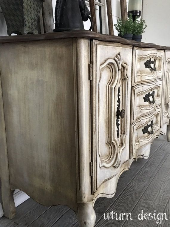 Sold Farmhouse White/ grey french provencial buffet by UTurnDesign