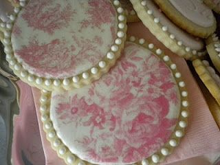 """Toile Cookies made with """"wafer paper"""" for the design."""