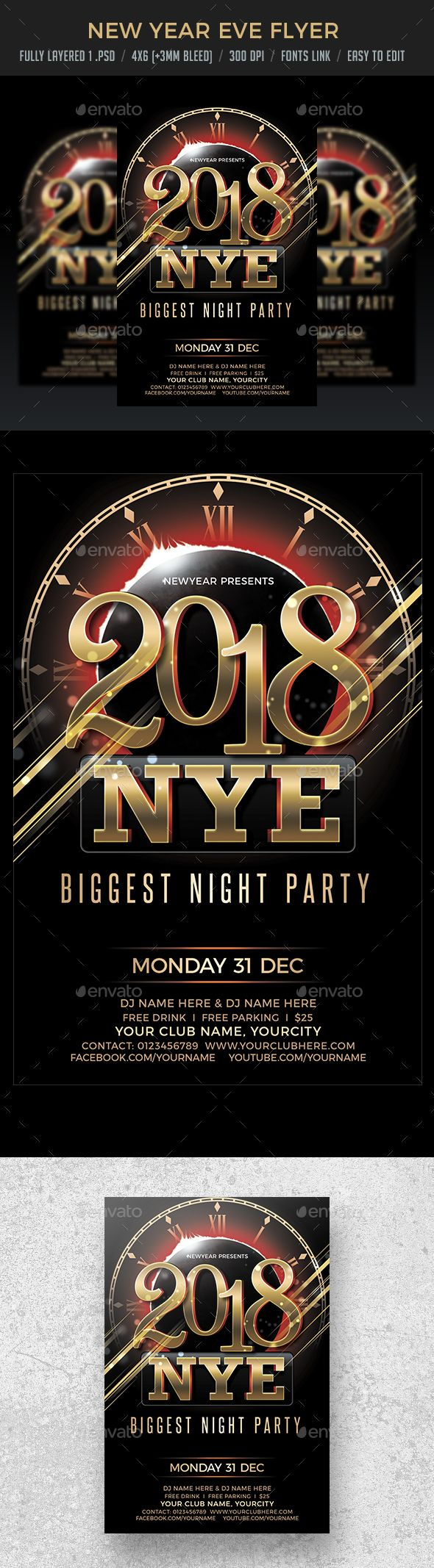 2018 New Year Eve Flyer Template PSD #nye #design