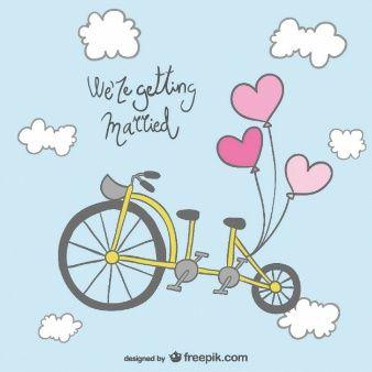 Diseño de invitación de boda con bicicleta
