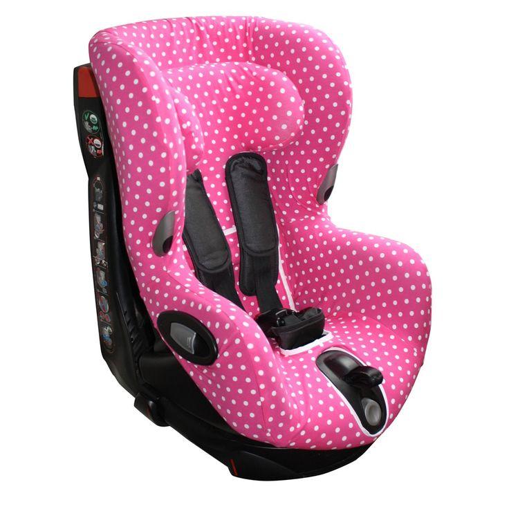 Hoes Maxi Cosi Axiss autozitje, roze met witte stippen. Neem voor meer autostoelhoezen een kijkje op www.ukje.nl