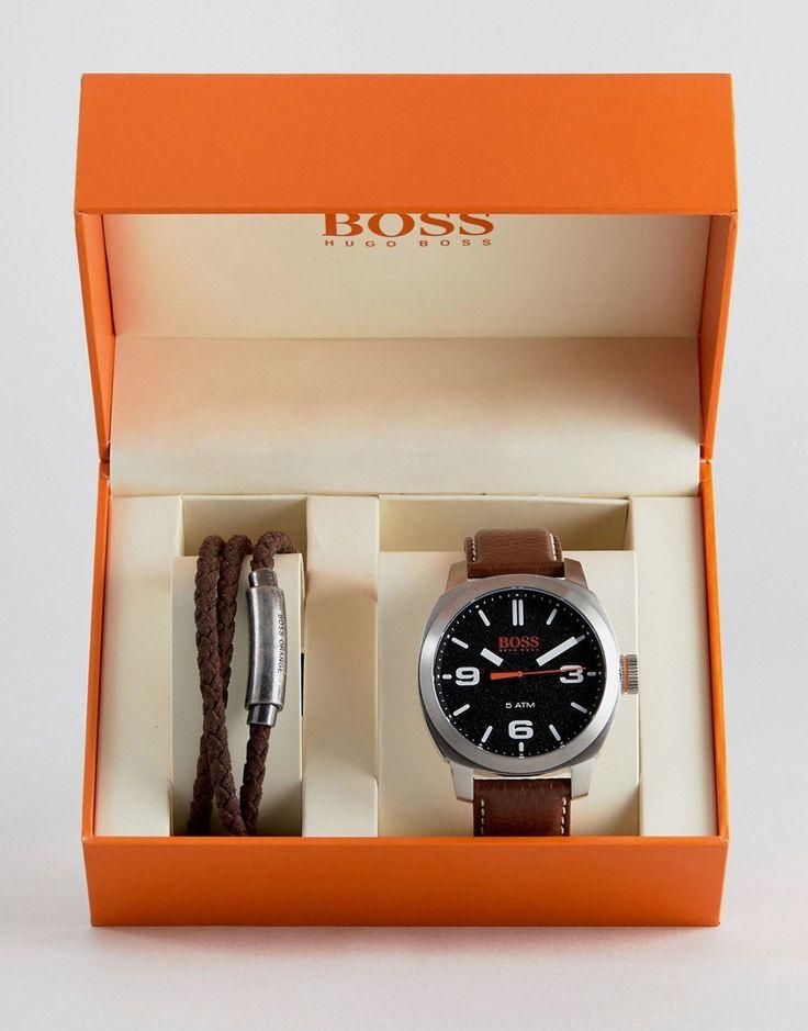 BOSS Orange By Hugo Boss Watch & Bracelet Gift Set In Brown - Brown