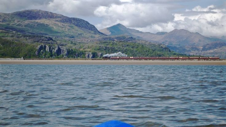 Just off Porthmadog, steam train and Snowden in background on my sit on.