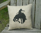 Rodeo Cowboy Bucking Horse Burlap Pillow Country Western Southwestern Rustic Old West Design