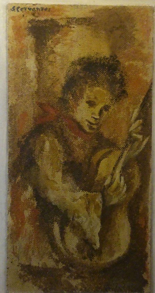 Tableau signé  J.CERVANTES  1963 GUITARISTE Ancien Huile sur Isorel a identifier