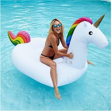ERMAHGERD!  A ERNAHKERN!   Imagine showing up to the next neighborhood pool party with this rainbow-hued mystical party animal!  It's going to be LEGEN…wait for it…DARY!   It's the stuff fairy tales (and epic parties) are made of!  And now you can say with a fabulously straight face that your other ride is not only a unicorn, but a Giant Inflatable Unicorn Float!