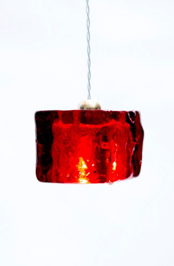 Red Pendant Light Fixture Cube / Hand Made / Red Epoxy Polyester Light Cube