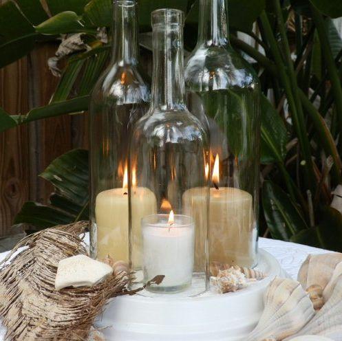 la decoracin de mis mesas centros de mesa con botellas de vino i