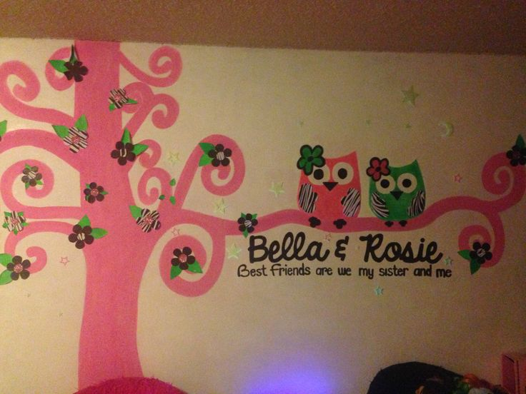 Wall I painted for my kids bedroom. It glows in the dark