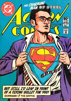 モリッシー(Morrissey) Morrissey - The Post-Punk / New Wave Super Friends by Butcher Billy モリッシーがスーパーマンに、ポスト・パンク/ニューウェイブのシンガーとスーパーヒーローをマッシュアップしたアメコミ表紙風ポスターが話題に - amass