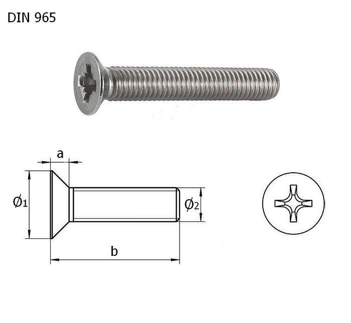 Винт с потайной головкой и крестообразным шлицем А4 DIN965 М5х10 упаковка 1/10