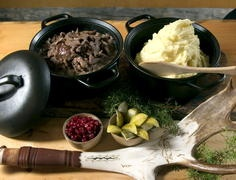 Sauteed reindeer with mashed potatoes and lingonberries is a Lappish delicacy but available even in Helsinki.