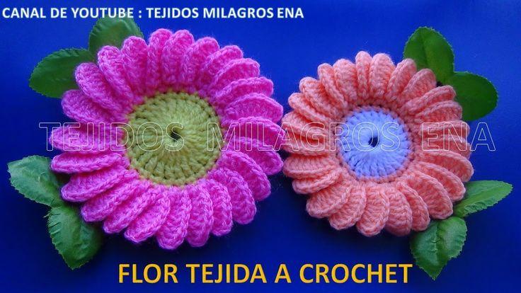 Flor margarita tejida a ganchillo # 6 paso a paso fácil de tejer