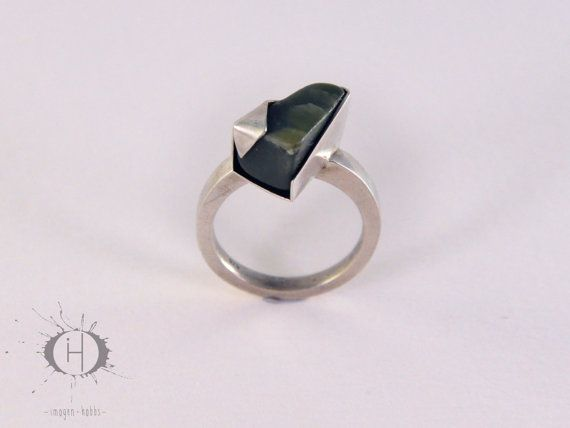 Origami - Sterling Silver and Greenstone ring, Raw Structure series