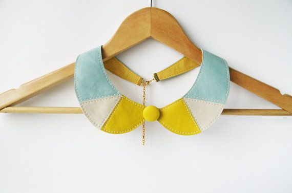 Lemon Yellow and Mint Collar Bib Necklace Peter Pan Detachable Collar - Leather Bib Necklace
