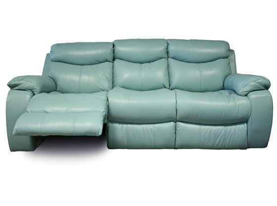 Kane 39 s furniture delaney aqua power reclining sofa for Blue leather reclining sofa