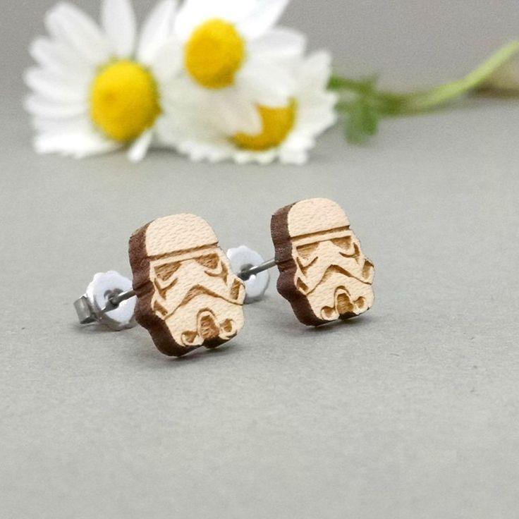 Star Wars StormTrooper Maple Wood Earrings