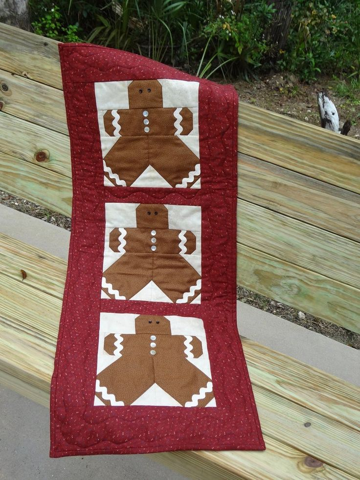 Gingerbread man table runner quilted table runner