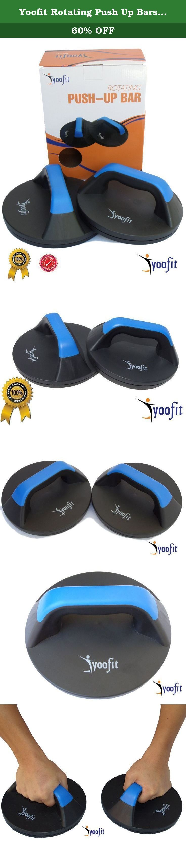 "Yoofit Rotating Push Up Bars - Perfect Get Upper Body Muscle, Core Strength and Provide Comfort Less Wrist Strain - Smooth Rotation Handle Stand Bar For CrossFit Workout or Fitness Training. Box of Rotating Push Up Bars Stand Includes: • Fully assembled pair of Push-up handles bar with 8"" in diameter with easy hand rip handle. Why Choose Yoofit Sports Ab Wheel Roller? • Manufacture with high quality parts material, the pair of rotating push-up handle bars are well constructed with heavy…"
