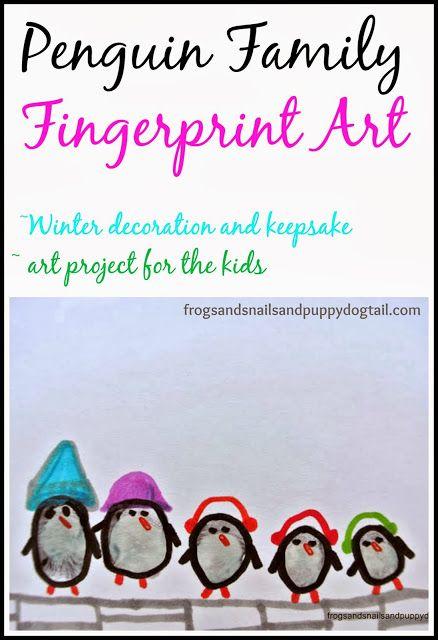 Penguin Family Fingerprint Art by FSPDT ~ keepsake ~decoration ~ kids arts and crafts
