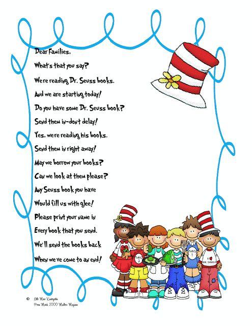 Little Miss Kindergarten - Lessons from the Little Red Schoolhouse!: Dr Seuss Parent Letter!