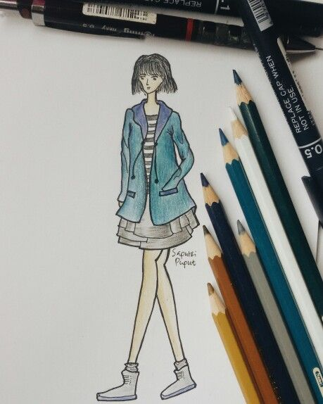 Try to draw some cute outfit for earlier winter #outfit #fashion #drawing #winter #pencil #sketch