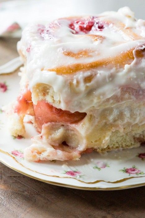 Soft and fluffy strawberry sweet rolls made fresh for breakfast for mom on Mother's Day.