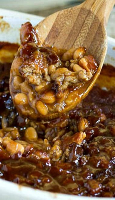 Root Beer Baked Beans - Made in the crockpot, so it was pretty runny ...