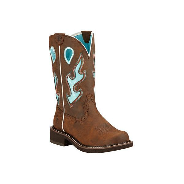 Women's Ariat Fatbaby Heritage Tall Cowgirl Boot - Toasted Brown... ($110) ❤ liked on Polyvore featuring shoes, boots, brown cowgirl boots, leather cowboy boots, ariat boots, tall cowboy boots and platform boots