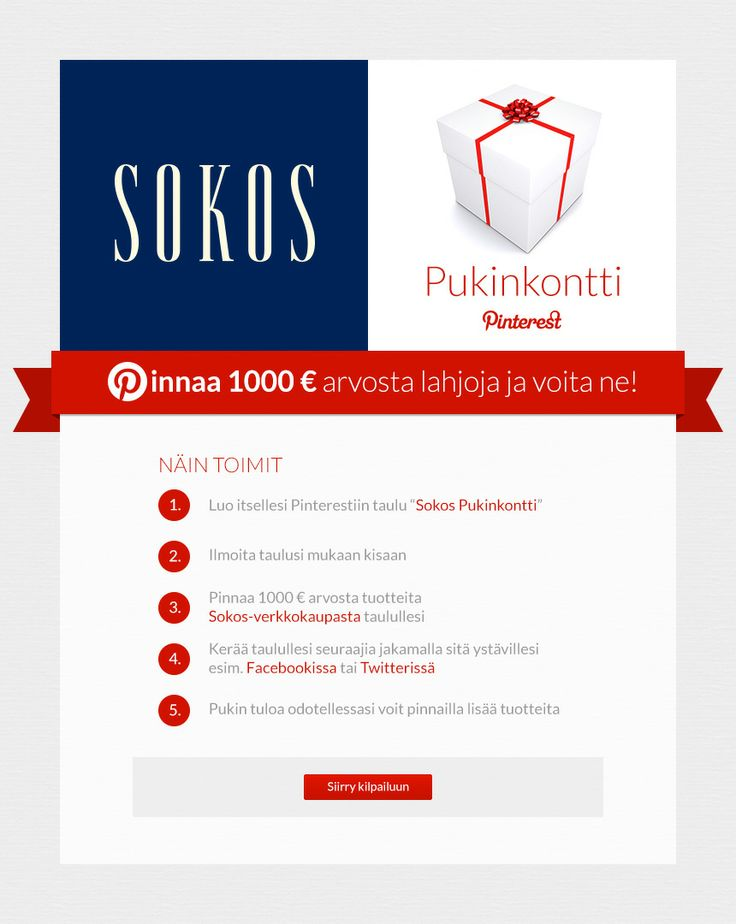 Pinnaa suosikkituotteesi omalle Pinterest-taulullesi ja voita 1000 euron lahjakortti Sokoksen verkkokauppaan!