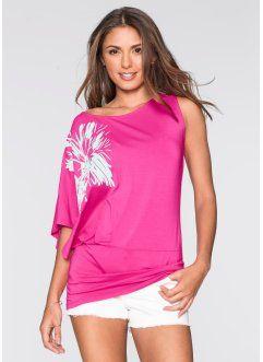 Triko s jedním rukávem, BODYFLIRT, tmavá pink-bílá