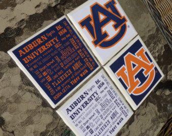 Auburn University Fight Song Typography Aubie by SnowAndCompany