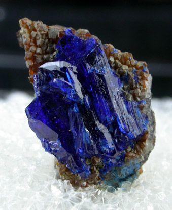 Linarite ... Translucent crystals of vivid-blue linarite crystals on matrix of small quartz crystals. Source: Grand Reef Mine, Aravaipa District, Graham County, Arizona.. ❧