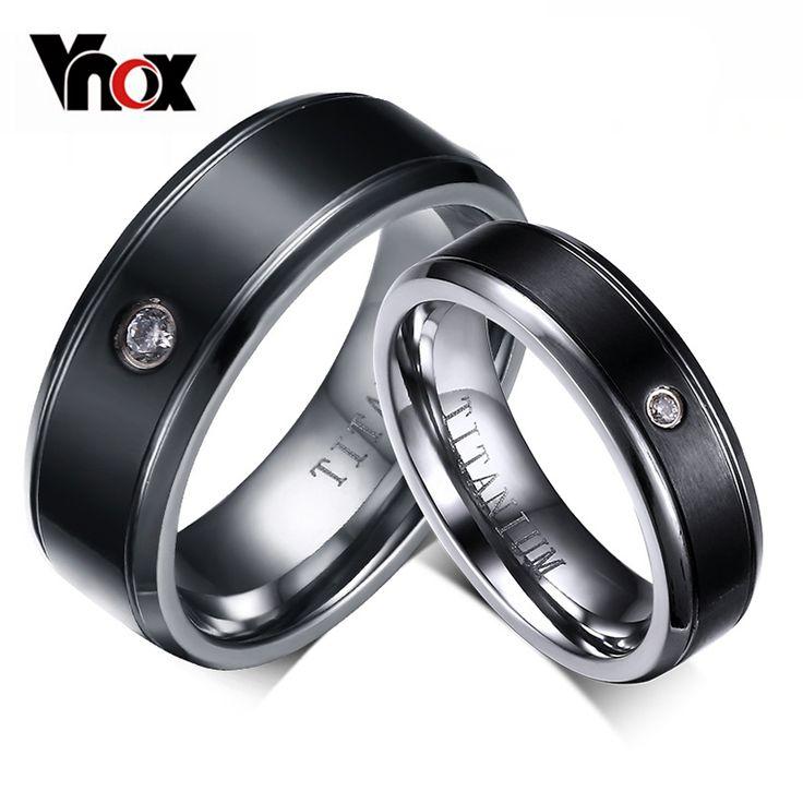 Barato Moda CZ de Diamante Anéis De Titânio Para Mulheres Dos Homens Não…