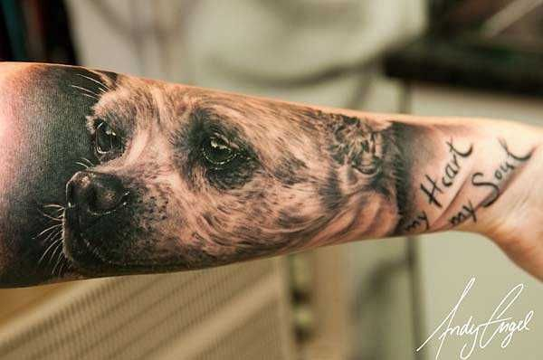 24 Wundervolle Hunde-Tattoos #Tattoo, #Ideas, #Dog, #Animal, #Pet