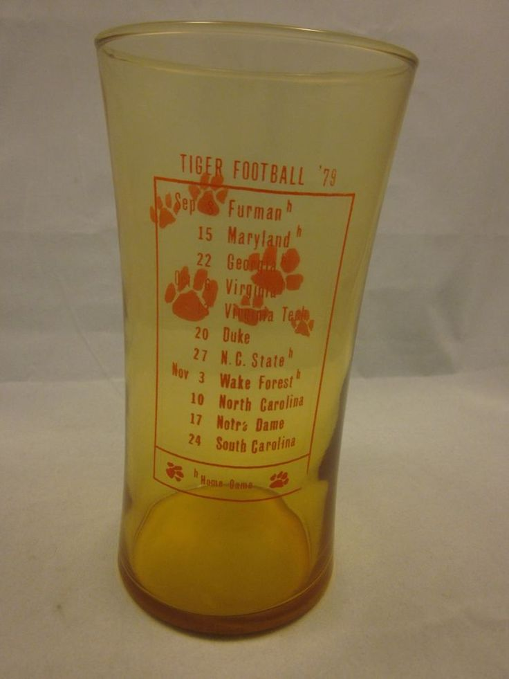 Clemson Tigers SC Yellow Tinted Glass Football 1979 Game Schedule Tiger Paw '79