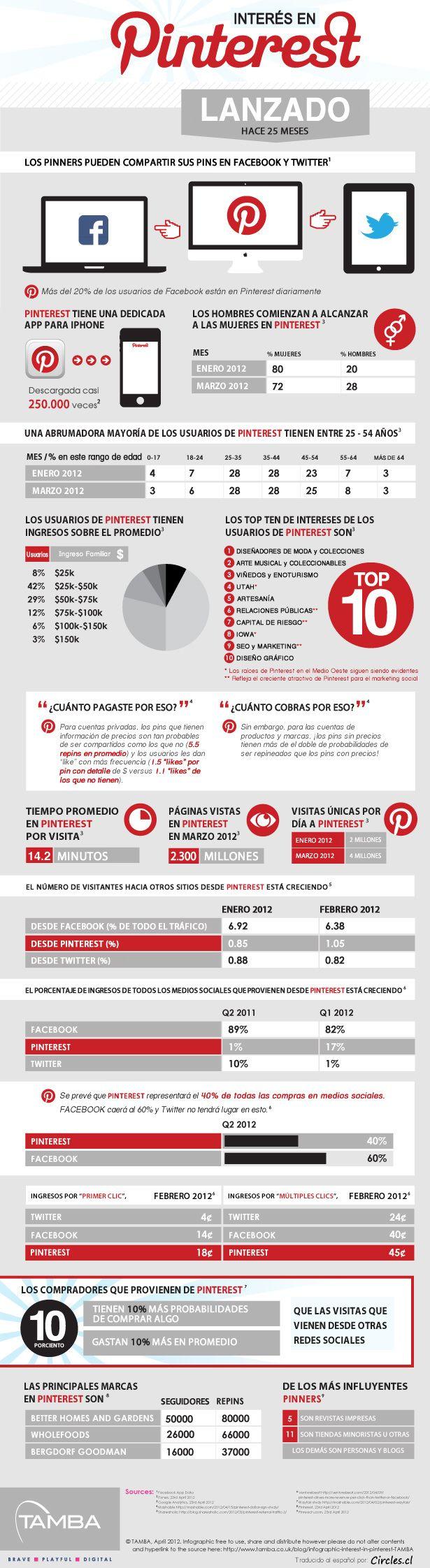 Interés en Pinterest - Infografía traducida al español - Circles.cl