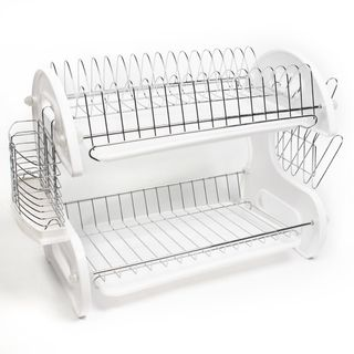 This 2-tiered dish drainer offers ample space for draining and drying dishes after washing. This set comes with two (2) removable trays for easy drainage, side mounting mug stand and cutlery holder. T