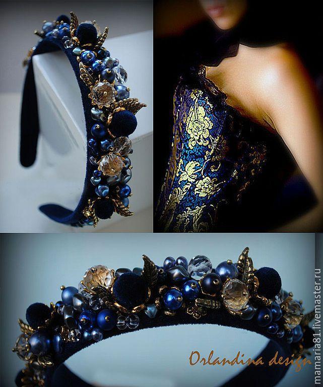 Купить Ободок тиара в стиле Дольче - Синий бархат - синий, тёмно-синий, тиара, ободок