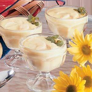 Banana Custard Pudding. Sugar, cornstarch, salt, milk, 3 eggs, vanilla extract, and banana.