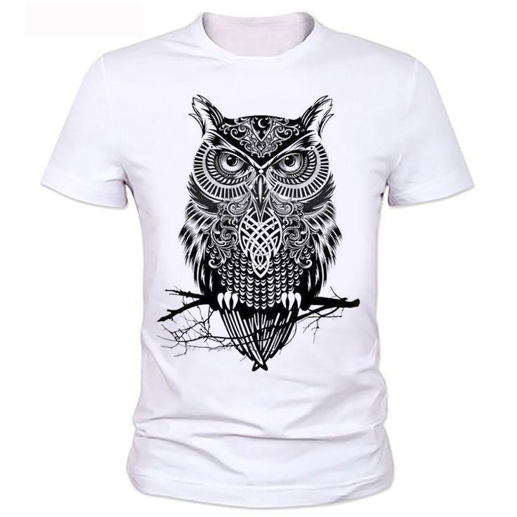 Homme OWL T-shirt mens brand tee shirt 2016 men t-shirt summer style men t-shirt with funny print men's t-shirt  24#